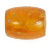 Resin Beads 19x14mm Barrel Crackle Orange